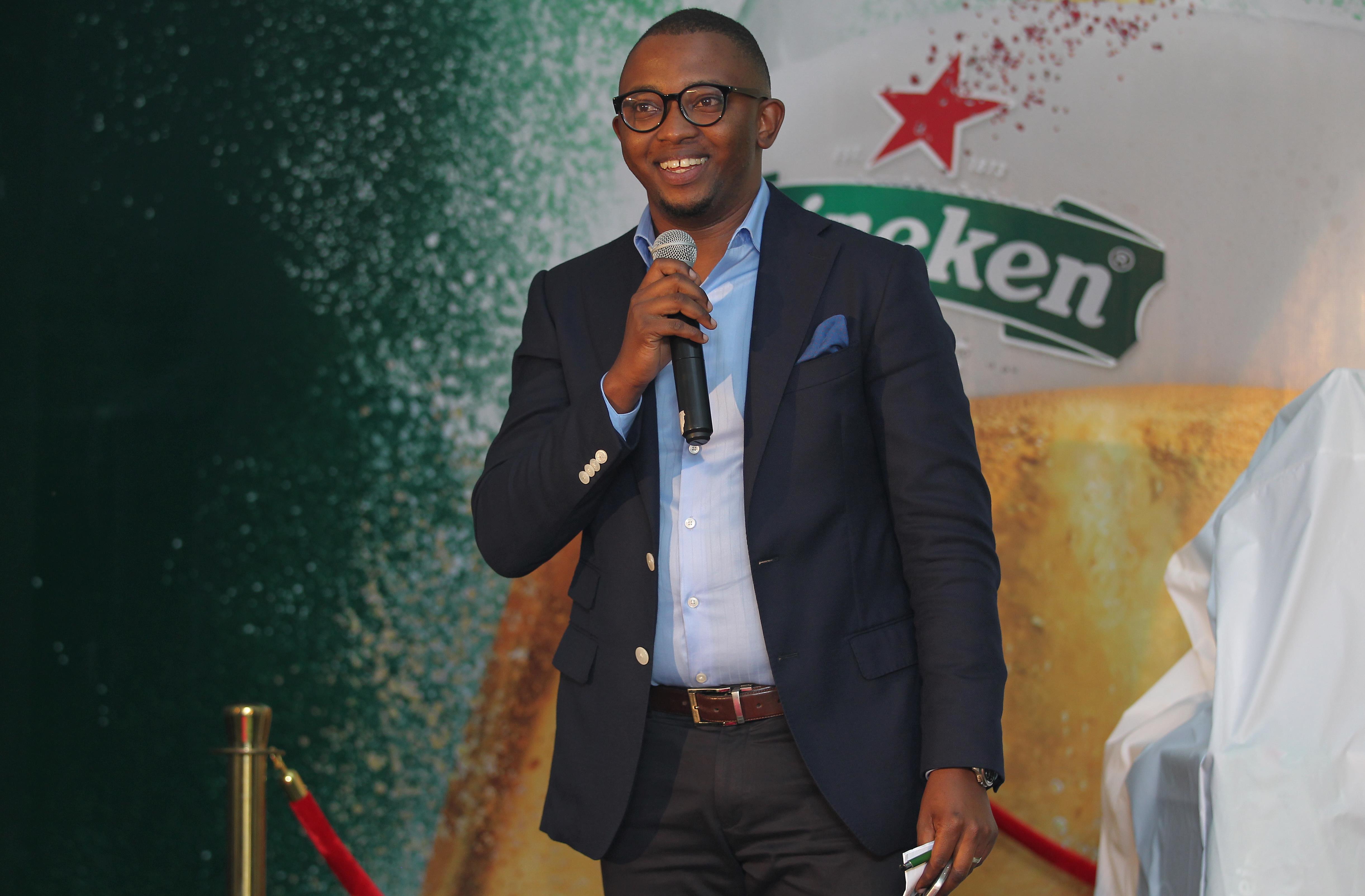 Heineken Country Manager Kenya Michael Mbungu speaks during the event